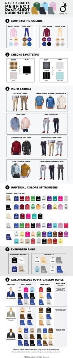 A guide to perfect pant-shirt combination for casual & formal look.    #ColorCombination, #Pants, #Shirts, #Men, #StyleGuide