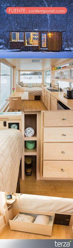 Los interiores están evolucionando para ser cada vez más prácticos y funcionales. Por ejemplo, esta casa ocupa 15 metros cuadrados. #CreamosAmbientes