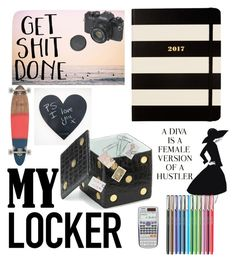 """#backtoschool #mylocker"" by captgdl on Polyvore featuring interior, interiors, interior design, home, home decor, interior decorating, Kate Spade, L'Objet, Casio and Philippi Design"