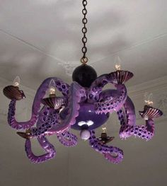 Sea-sational Chandeliers    Jonathan Levine's Octopus Lighting    Of all the beautiful creatures in the ocean, I am not sure why Jonathan LeVine's gallery decided that the octopus or squid would make a beautiful exhibit.