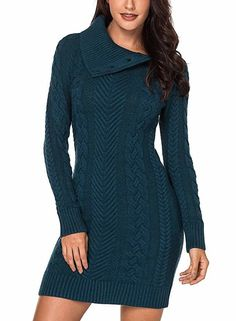 Womens Turtleneck Long Sleeve Elasticity Chunky Cable Knit Pullover Sweaters Jumper with Pockets, Z-peacock Blue / Small Source by jwearsfashion Sweater Dresses Cable Knit Sweater Dress, Long Sleeve Sweater Dress, Hand Knitted Sweaters, Warm Sweaters, Knit Dress, Sweaters For Women, Sweater Dresses, Cardigan, Hand Made Gifts