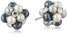Grey Tonal Simulated Pearl and Clear Crystal Cluster Studs Imported Grey Pearl Earrings, Pearl Grey, Stud Earrings, Crystal Cluster, Clear Crystal, Cheap Fashion Jewelry, Loose Gemstones, Studs, Girly