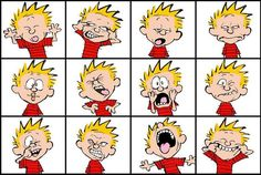 """Quoting wikipedia, """"Calvin and Hobbes is a daily American comic strip created by cartoonist Bill Watterson that was syndicated from November Calvin Und Hobbes, Calvin And Hobbes Costume, Calvin And Hobbes Quotes, Calvin And Hobbes Comics, Silly Faces, Funny Faces, Cartoon Expression, Facial Expressions, Anime Expressions"""