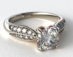 Behind the center diamond that you choose to set in this ring you have two rows of pave diamonds, outlined by milgrain accents resembling a long, skinny leaf. Underneath, rose gold detailing adds not just additional flair, but color as well. Leaf Engagement Ring, Best Engagement Rings, Beautiful Engagement Rings, Jewelry Watches, Diamonds, White Gold, Rose Gold, Leaves, Skinny