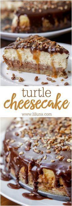Turtle Cheesecake - With a delicious crumbly crust, chocolate layer, cheesecake layer and topped with chocolate ganache, pecans and caramel, it is PHENOMENAL and one of the best desserts!