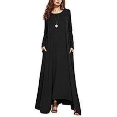 7ecbc590f7659b Tomwell Kleid Damen Langarm Loose Plain Maxikleid Casual Partykleid Elegant Lang  Kleider mit Taschen Schwarz DE