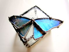 Real Blue Morpho Butterfly on Stained Glass Box. $165.00, via Etsy.