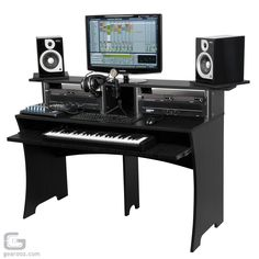 STUDIO PRODUCTION BOOTH DESKTOP  Convenient producing workstation for studios Available in three colour. Extremely robust and ergonomical construction. Pull-out drawer for keyboards Room for all my 19 racks Cavities for cable guiding Easy and trouble-free assembly. Enough space for PC keyboard, mouse, studio mixer and further equipment Second level for large displays. In my case I will put the speakers on stands next to the desk in order to fit 3 computer screens