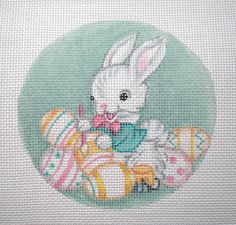 Handpainted+Bunny+Painting+Easter+Eggs+needlepoint+by+colors1
