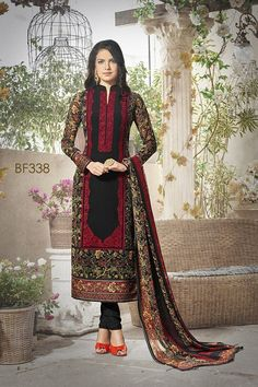 Black Color Georgette Fabric Salwar Suit