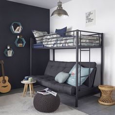 Small Loft Apartments, Bunk Beds, Furniture Decor, Guest Room, Bedroom, Home Decor, Sleeper Couch, Box Springs, Futons