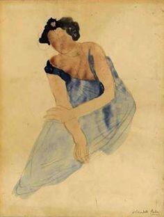 Rodin -Femme assise ,en bleu
