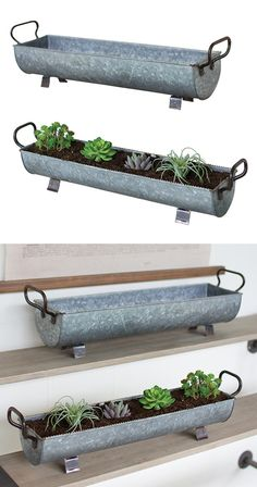 Double your greenery with our Textured Terrace Metal Planters set. These matching oblong planters are designed with a textured zinc finish along with brass handles and feet. Convenient side handles all...  Find the Textured Terrace Metal Planters - Set of 2, as seen in the Rustic Outdoor Living Boutique Collection at http://dotandbo.com/collections/rustic-outdoor-living-boutique?utm_source=pinterest&utm_medium=organic&db_sku=118554