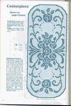 Filet Crochet Chart for Runner Crochet Squares, Crochet Motif, Crochet Doilies, Crochet Yarn, Crochet Patterns, Crochet Tablecloth Pattern, Lace Runner, Filet Crochet Charts, Fillet Crochet