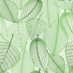 Зеленые листья бесшовный фон фон — стоковая иллюстрация #52841369