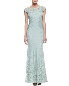 T7YFG Tadashi Shoji Cap-Sleeve Lace Woven-Waist Gown, Mint