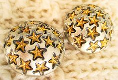 Silver with Gold Star Earrings Vintage Clip Round by resurrections, $12.97