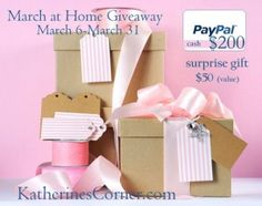 March at Home Giveaway It'stime for another wonderful giveaway! Whether March comes in like a lamb or roars in like a lion, March is a great month to add something new to your home. This month'sMarch at homeGiveaway provides Katherines Corner readers with an opportunity to win a $200