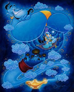 """I Dream of Genie"" by Tim Rogerson featuring The Genie, Aladdin, and Jasmine Size: x Fine Art Treasure Collection Giclée on Canvas Limited Edition of 500 Gallery-quality framed Comes with Certificate of Authenticity Disney Magic, Disney Pixar, Disney E Dreamworks, Film Disney, Disney Animation, Disney Love, Genie Aladdin, Art Aladdin, Jasmine E Aladdin"