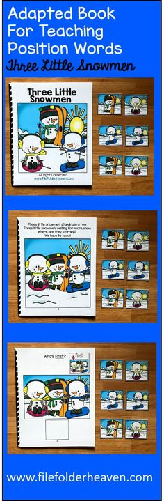 Winter Adapted Book: Three Little Snowmen - $3.50 : File Folder Games at File Folder Heaven - Printable, hands-on fun!