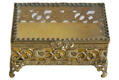 1950s Brass Filigree & Glass Trinket Box
