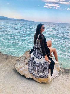 Black & White Beach Wear by Elena Chalati #beachwear #blackandwhie