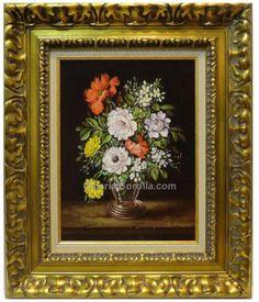 Sánchez Ramírez : Classic flowers. Medium: Oil on wood Measurements (cm): 61x51 Canvas measurements (cm): 40x30 Interior frame: Yes. Realist painting of lively colours, magnificent draughtsmanship and pretty composition. $288.04