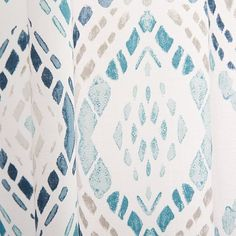 Cotton Canvas Mosaic Medallion Curtain - Blue Lagoon  $49