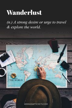 Wanderlust (n.) a strong desire or urge to travel and explore the world.  ~ Travel Quotes #travel #quotes #travelquotes