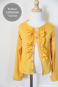 Girls Ruffled Cardigan Tutorial - #sewing tutorial DIY