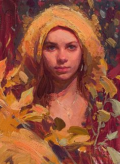 """Morgan in Yellow"" - Scott Burdick (b. 1967), oil on canvas, 2007 {figurative #impressionist artist beautiful blonde female head woman face portrait #impasto texture painting #loveart} scottburdick.com"