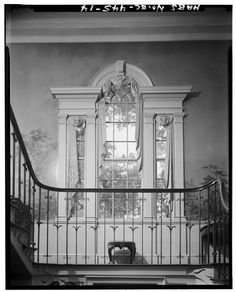 Gibbes House. PALLATIN WINDOW DETAIL, STAIR LANDING, ON WAY TO SECOND FLOOR, LOOKING NORTH - Gibbes House, 64 South Battery Street, Charleston, Charleston County, SC HABS SC,10-CHAR,316-14.tif