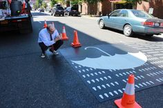 Portland Debuts Rain-Themed 'Creative Crosswalks' It's not just being weird this time—there's a safety value to the new crossings.