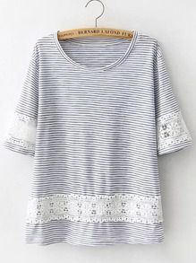 Blue Floral Crochet Striped Loose T-Shirt US$12.83