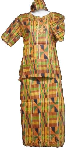 African Kids Kent Outfit Girl Skirt Suit Gold Black S Fit upto 36 034 arou African Dashiki Shirt, African Dress, Ankara Skirt, Maxi Skirts, African Children, Kids Pants, Cotton Skirt, Skirt Suit, Printed Skirts