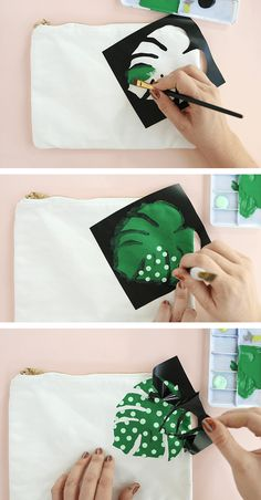 Paint your own palm leaf pencil pouch! Easily add tropical flair to any bag with paint. Use it to store school supplies, makeup, or anything you like! Hand Sewing Projects, Diy Craft Projects, Leaf Stencil, Painted Bags, Diy Bags Purses, Bead Loom Bracelets, Fabric Bags, Pencil Pouch, Fabric Jewelry