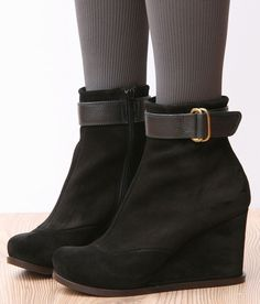 CHIE MIHARA SHOES PIZCA WEDGE BOOTIES BLACK PLATFORM ANKLE BOOTS 8 $495 #ChieMihara #AnkleBoots #Casual