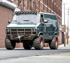 Lifted Van, Gmc 4x4, Gmc Vans, Stunt Bike, 4x4 Van, Chevy Van, All Terrain Tyres, Cool Campers, Cool Vans
