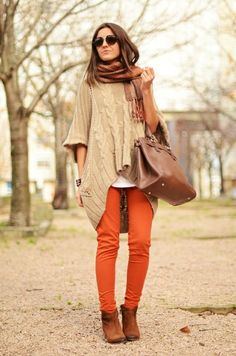 How to wear orange skinny jeans on cooler game days!