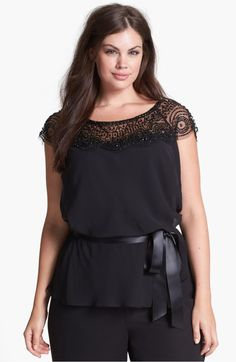 Not crazy about the belt, but I love the neckline detail Xscape Beaded Yoke Chiffon Top (Plus Size) available at Plus Size Blouses, Plus Size Tops, Plus Size Dresses, Plus Size Outfits, Fast Fashion, Curvy Fashion, Big Girl Fashion, Lace Tops, Chiffon Tops
