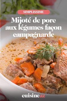 Le mijoté de porc aux légumes façon campagnarde est un plat familial facile à cuisiner. #recette#cuisine#porc#legume #legumes #platmijote Facon, Pot Roast, Ethnic Recipes, Table, Pig Kitchen, Smoked Sausages, Cooking Food, Braised Beef, Dish