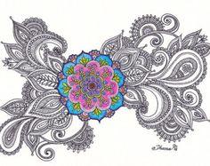 Original Colorful Mandala Drawing Spiritual Art by DHANAdesign Mandala Print, Mandala Drawing, Mandala Painting, Mandala Design, Hippie Painting, Yoga Studio Decor, Paisley Art, Modern Art Prints, Mandala Coloring