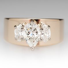Pear & Marquise Diamond Three Stone Wide Band Ring 14K