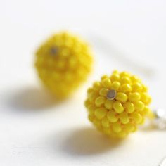 Canary Yellow Handbeaded Earrings