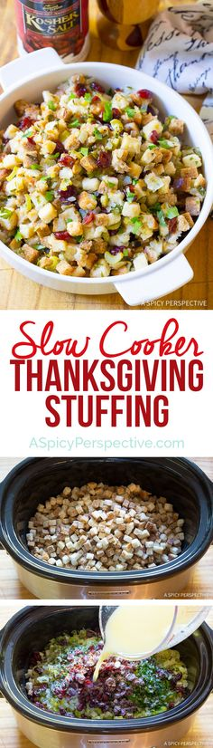 Make room in your oven for other dishes! Moist and Fluffy Slow Cooker Thanksgiving Stuffing Recipe on ASpicyPerspective.com