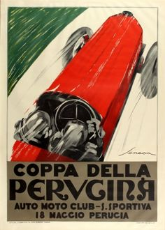 Coppa Della Perugina 1960s - original vintage lithograph re-issue of the 1925 sport advertising poster by Federico Seneca for the annual Coppa della Perugina classic car racing event listed on AntikBar.co.uk