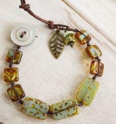 Hand knotted chunky rustic bracelet Czech Picasso by BitByABead