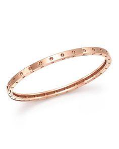 Roberto Coin   Metallic 18k Rose Gold Symphony Dotted Bangle Bracelet   Lyst