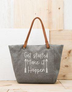 Text Detail Shopper Bag from Bershka £19,99