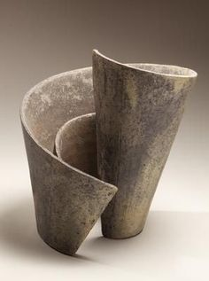 Blue-grey vertical spiraling sculpture centered around a vertical axis, titled Kei (Mindscape) Helix 1 2013 Stoneware 13 x 13 x 12 in. Slab Pottery, Pottery Bowls, Ceramic Pottery, Ceramic Art, Ceramic Bowls, Pottery Sculpture, Sculpture Clay, Abstract Sculpture, Ceramic Sculptures